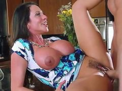 Elegant super sexy MILF Ariella Ferrera with huge tits seduces her daughters boyfriend to satisfy